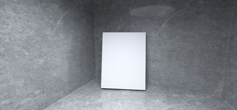 Realistiskt konkret rum med den tomma affischen på hörnet royaltyfri illustrationer