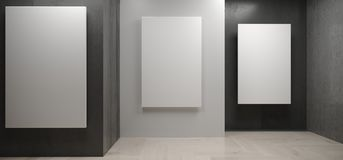 Realistiskt konkret rum med vita affischer på väggar stock illustrationer
