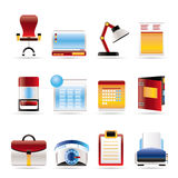 realistiskt kontor för symboler för affärsfirm stock illustrationer