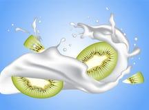 Realistiskt mjölka krabb färgstänk för kronayoghurten med kiwiskivor royaltyfri illustrationer