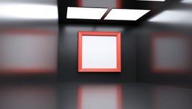 Realistiskt modernt gallerirum med stort tömmer ramen Arkivbild