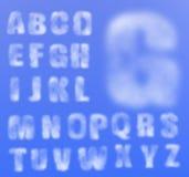 Realistiskt molnigt alfabet för vektor royaltyfri illustrationer