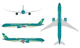Realistiskt passagerareflygplan Arkivfoto
