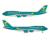 Realistiskt passagerareflygplan Arkivbild