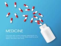 Realistiskt preventivpiller- och kapselbaner för vektor Mediciner minnestavlor, kapslar, drog av smärtstillande medel, antibiotik royaltyfri illustrationer