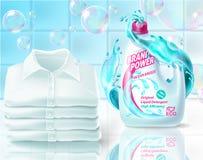 Realistiskt promobaner för vektor av tvagningpulver, affisch för annonsering av tvättmedel i flaska mall 3d för produkt royaltyfri foto