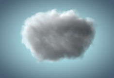 Realistiskt regnigt moln som svävar över blå bakgrund Royaltyfria Bilder