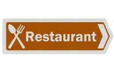 realistiskt restaurangtecken för foto Arkivfoton