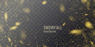 Realistiskt snöfall för vektor mot en mörk bakgrund Genomskinliga beståndsdelar för vinterkort stock illustrationer