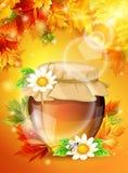 Realistiskt soligt höstljus, ljusa lönnlöv, en krus av honung i bakgrunden Färgrik och högkvalitativ mall Arkivfoto