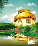 Realistiskt som landskap-förlägga i barack på dammet med svanar Arkivbilder