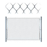 Realistiskt staket för metallkedjesammanlänkning metallingrepp på isolerat på whit royaltyfri illustrationer