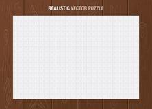 Realistiskt vektorpussel och träbakgrund stock illustrationer