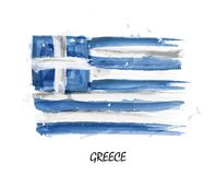Realistyczna akwarela obrazu flaga Grecja wektor Fotografia Royalty Free