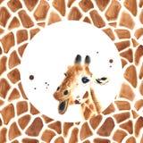Realistyczna akwareli żyrafa Fotografia Royalty Free