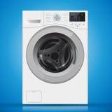 Realistyczna biała frontowego ładowania pralka na błękitnym backgr Fotografia Royalty Free