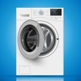 Realistyczna biała frontowego ładowania pralka na błękitnym backgro Obrazy Royalty Free