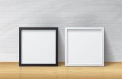 Realistyczna Biała i Czarna Pusta obrazka kwadrata rama, trwanie o Fotografia Stock