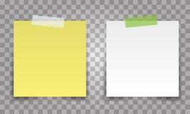 Realistyczna biuro papieru prześcieradła szpilka z przejrzystą taśmą Biel i żółta poczta zauważamy wektor dla twój projekta royalty ilustracja