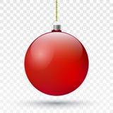 Realistyczna czerwona Bożenarodzeniowa piłka Wektorowa Xmas drzewa dekoracja royalty ilustracja
