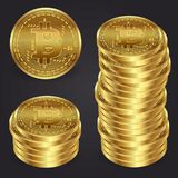 Realistyczna 3d bitcoin monety wektoru złota ilustracja Obrazy Royalty Free