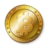 Realistyczna 3d bitcoin złota moneta Zdjęcia Stock