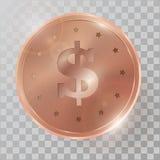 Realistyczna 3d copperr monety wektoru ilustracja Zdjęcia Stock