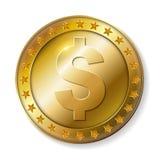 Realistyczna 3d dolara złocista moneta Zdjęcia Stock