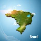 Realistyczna 3D mapa Brazylia Zdjęcia Stock