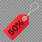 Realistyczna dyskontowa czerwona etykietka na w kratkę tle Duża sprzedaż, 50 procentów daleko Wektorowa rocznik etykietka Zdjęcia Royalty Free