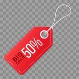 Realistyczna dyskontowa czerwona etykietka na w kratkę tle Duża sprzedaż, 50 procentów daleko Wektorowa rocznik etykietka Zdjęcie Royalty Free