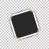 Realistyczna fotografii rama z cień szpilką na kleistej taśmie Wektorowa ilustracja na przejrzystym tle przygotowywającym dla twó Fotografia Royalty Free
