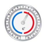 Realistyczna ilustracja metalu round termometr mierzyć stopnie Celsius zimno i ogrzewać Odizolowywaj?cy na bia?ym tle, royalty ilustracja