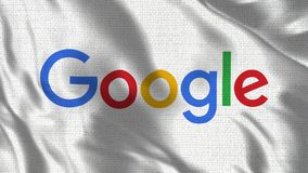 Realistyczna 4K 30 fps flaga Google falowanie w wiatrze ilustracja wektor