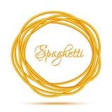 Realistyczna Kręcona spaghetti makaronu okręgu rama Zdjęcie Royalty Free
