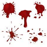 Realistyczna krew splatters wektoru set i opuszcza Zdjęcie Royalty Free