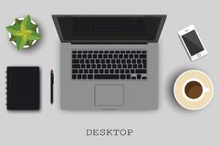 Realistyczna organizacja miejsce pracy Odgórny widok z stołem, komputerem lub laptopem szarymi, smartphone, kwiat, pióro dla Obrazy Royalty Free