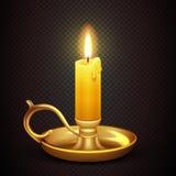 Realistyczna płonąca romantyczna świeczka odizolowywająca na przejrzystej szkockiej kraty tła wektoru ilustraci Zdjęcia Stock