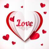 Realistyczna papierowa miłość podpisuje wewnątrz składających serca Fotografia Stock