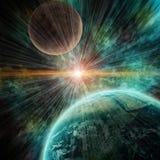 Realistyczna planety ziemia w otwartej przestrzeni ilustracji