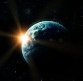 Realistyczna planety ziemia w przestrzeni ilustracja wektor