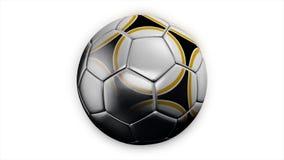 Realistyczna rzemienna piłki nożnej piłka wiruje na białym tle Animacja futbolowa piłka na białym tle fotografia stock