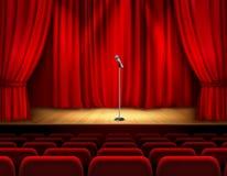 Realistyczna teatr scena Z mikrofonem ilustracji