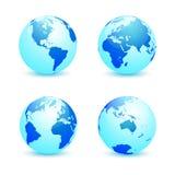 Realistyczna Ziemska kula ziemska w cztery wariantach Zdjęcie Stock