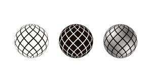 Realistyczne 3D sfery dekorowali z lampasami, odizolowywającymi na białym tle zdjęcia stock