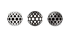 Realistyczne 3D sfery dekorowali z okręgami, odizolowywającymi na białym tle obrazy stock