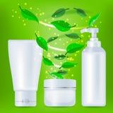 Realistyczne kosmetyk butelki z zielonymi liśćmi Obraz Royalty Free