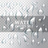 Realistyczne krople woda z, ciecz na tle, przejrzystym i białym Zdjęcia Stock