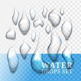 Realistyczne krople woda z swój cieniem, ciecz na błękitnym i przejrzystym Fotografia Stock
