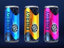 Realistyczne rozporządzalne energetyczne napój puszki w różnych kolorach projekta wektorowy szablon odizolowywający na białym tle royalty ilustracja